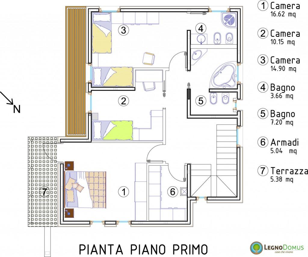 Alliaria 134 mq legno domus for Casa moderna pianta