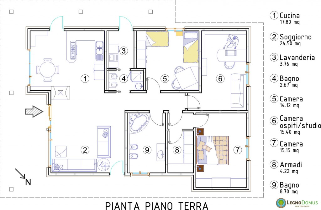 Ambrosia 113 mq legno domus for Planimetrie della casa quadrata