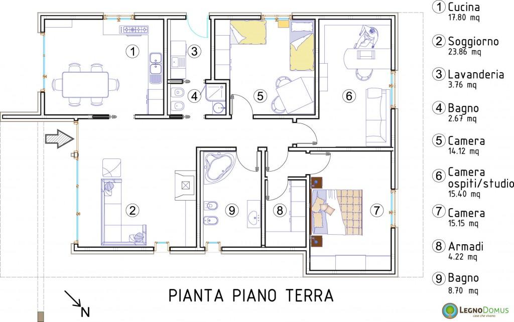 Arnica 113 mq legno domus for Portico moderno